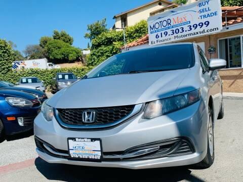 2015 Honda Civic for sale at MotorMax in Lemon Grove CA