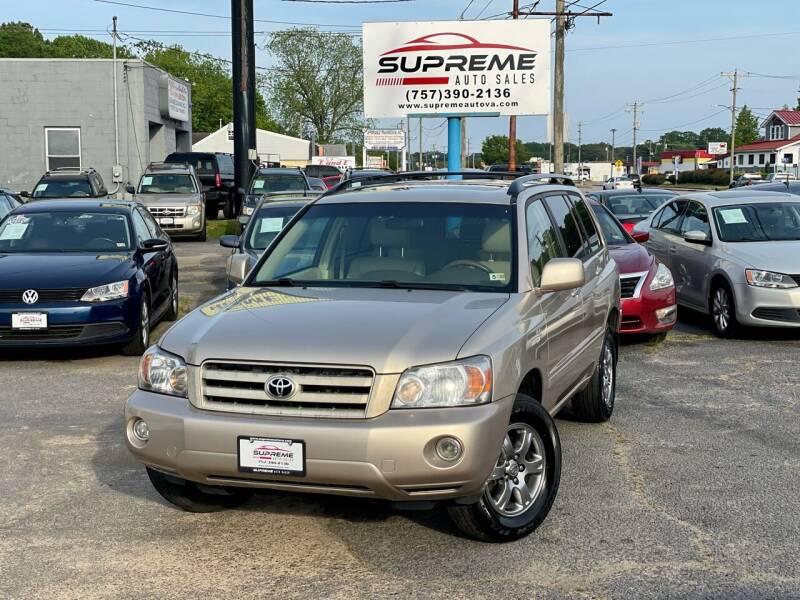 2005 Toyota Highlander for sale at Supreme Auto Sales in Chesapeake VA