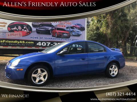 2004 Dodge Neon for sale at Allen's Friendly Auto Sales in Sanford FL