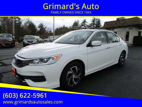 2017 Honda Accord for sale at Grimard's Auto in Hooksett, NH