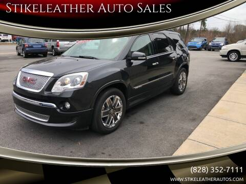 2012 GMC Acadia for sale at Stikeleather Auto Sales in Taylorsville NC