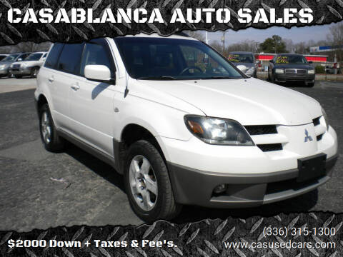 2003 Mitsubishi Outlander for sale at CASABLANCA AUTO SALES in Greensboro NC