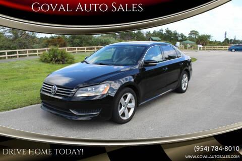 2013 Volkswagen Passat for sale at Goval Auto Sales in Pompano Beach FL