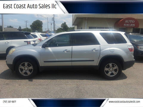2010 GMC Acadia for sale at East Coast Auto Sales llc in Virginia Beach VA