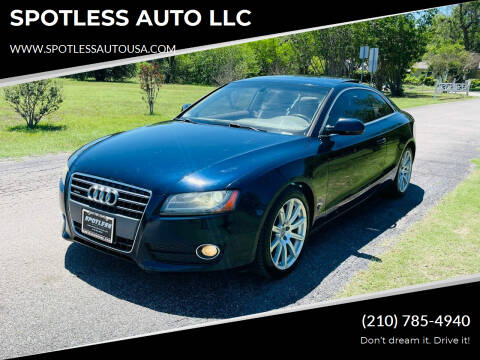 2011 Audi A5 for sale at SPOTLESS AUTO LLC in San Antonio TX