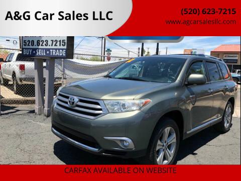 2012 Toyota Highlander for sale at A&G Car Sales  LLC in Tucson AZ
