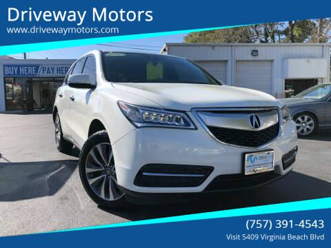 2016 Acura MDX for sale at Driveway Motors in Virginia Beach VA