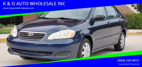 2007 Toyota Corolla for sale at K & O AUTO WHOLESALE INC in Jacksonville FL