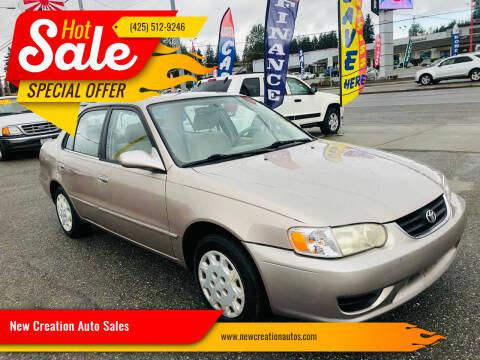 2001 Toyota Corolla for sale at New Creation Auto Sales in Everett WA