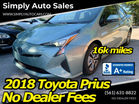 2018 Toyota Prius for sale at Simply Auto Sales in Palm Beach Gardens FL