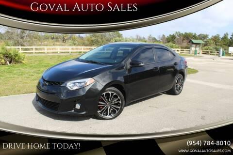 2015 Toyota Corolla for sale at Goval Auto Sales in Pompano Beach FL