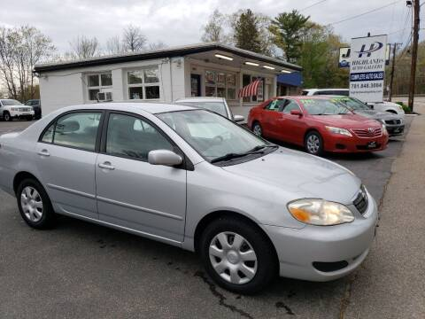 2008 Toyota Corolla for sale at Highlands Auto Gallery in Braintree MA