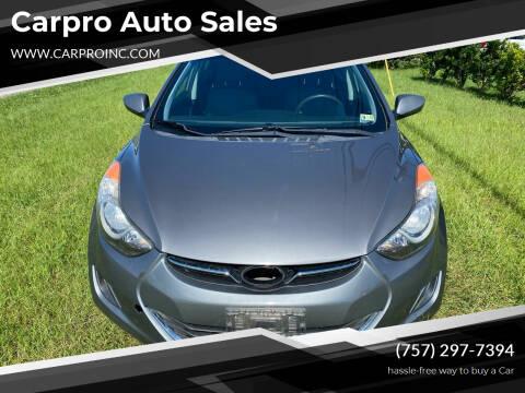 2011 Hyundai Elantra for sale at Carpro Auto Sales in Chesapeake VA