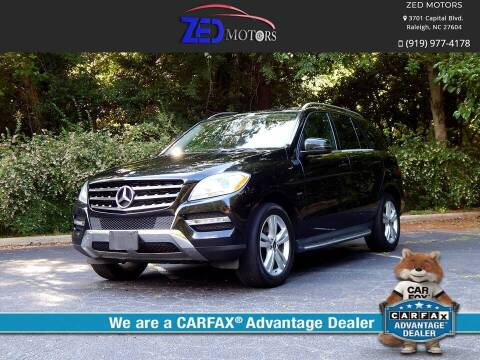2012 Mercedes-Benz M-Class for sale at Zed Motors in Raleigh NC