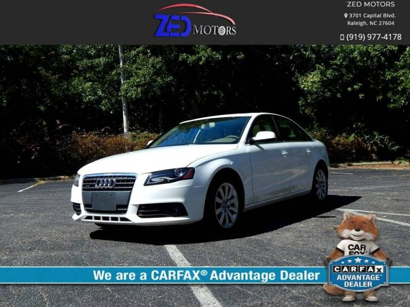 2011 Audi A4 for sale at Zed Motors in Raleigh NC