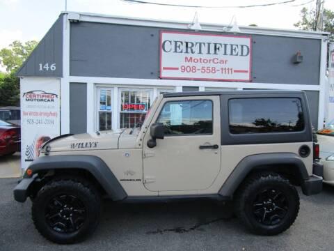 2016 Jeep Wrangler for sale at CERTIFIED MOTORCAR LLC in Roselle Park NJ