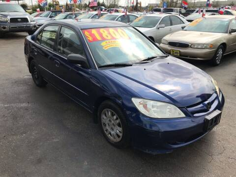 2005 Honda Civic for sale at Texas 1 Auto Finance in Kemah TX