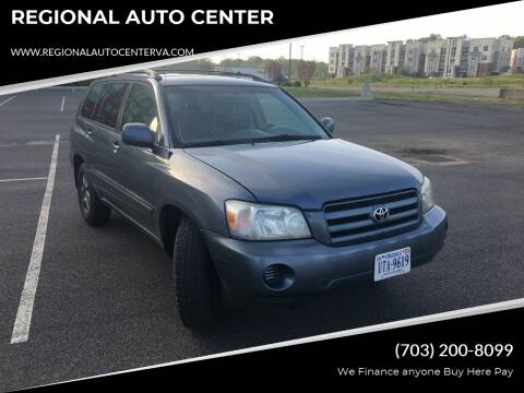 2004 Toyota Highlander for sale at REGIONAL AUTO CENTER in Stafford VA