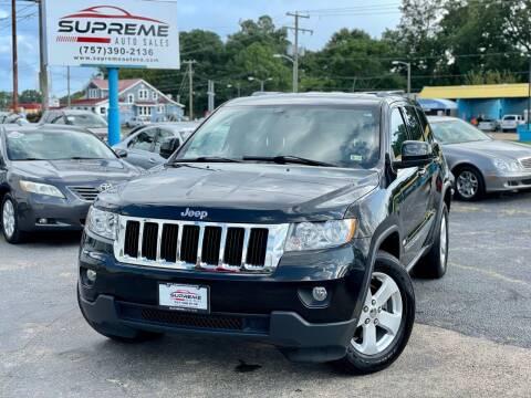 2012 Jeep Grand Cherokee for sale at Supreme Auto Sales in Chesapeake VA