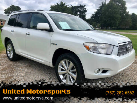 2008 Toyota Highlander Hybrid for sale at United Motorsports in Virginia Beach VA