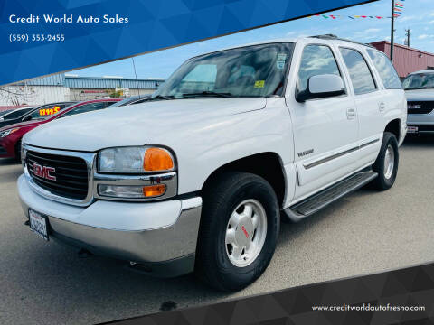 2002 GMC Yukon for sale at Credit World Auto Sales in Fresno CA
