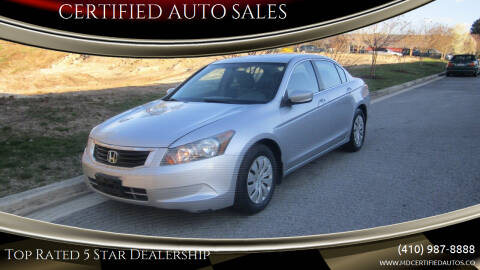 2008 Honda Accord for sale at CERTIFIED AUTO SALES in Severn MD
