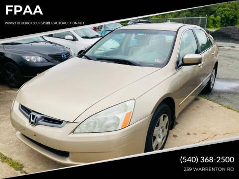 2005 Honda Accord for sale at FPAA in Fredericksburg VA