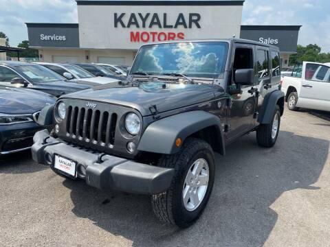 2018 Jeep Wrangler JK Unlimited for sale at KAYALAR MOTORS in Houston TX