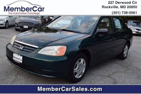 2001 Honda Civic for sale at MemberCar in Rockville MD