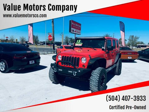 2013 Jeep Wrangler Unlimited for sale at Value Motors Company in Marrero LA