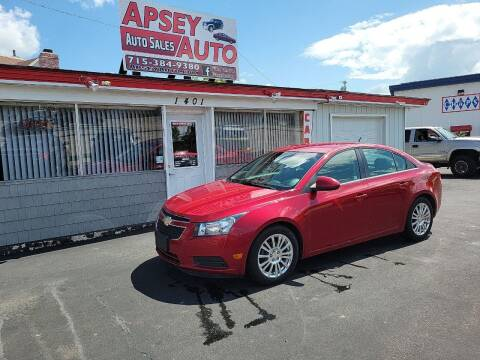 2012 Chevrolet Cruze for sale at Apsey Auto in Marshfield WI