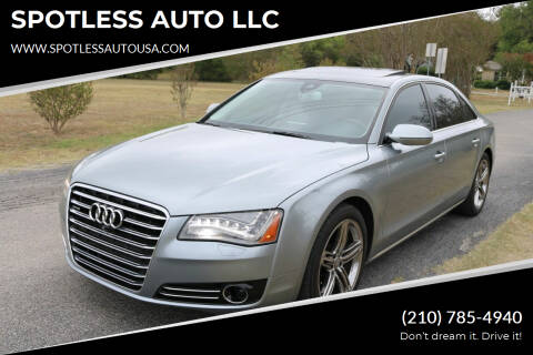 2013 Audi A8 L for sale at SPOTLESS AUTO LLC in San Antonio TX