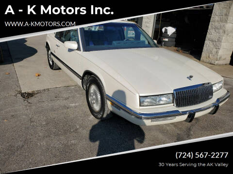 1989 Buick Riviera for sale at A - K Motors Inc. in Vandergrift PA