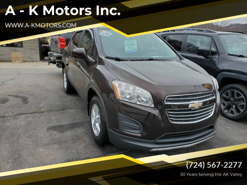 2015 Chevrolet Trax for sale at A - K Motors Inc. in Vandergrift PA