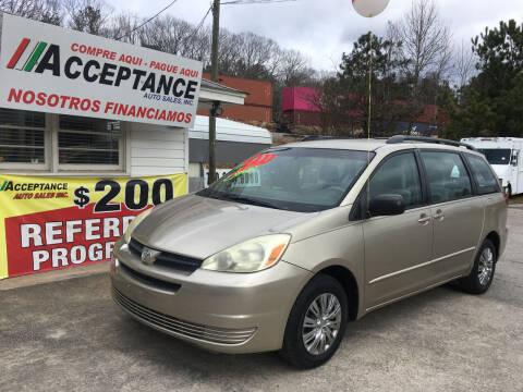 2005 Toyota Sienna for sale at Acceptance Auto Sales Douglasville in Douglasville GA