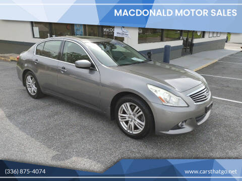 2012 Infiniti G25 Sedan for sale at MacDonald Motor Sales in High Point NC