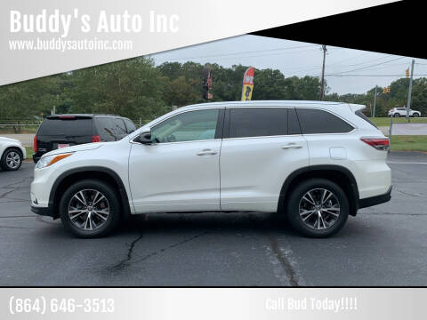 2016 Toyota Highlander for sale at Buddy's Auto Inc in Pendleton, SC