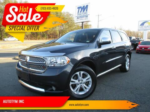 2013 Dodge Durango for sale at AUTOTYM INC in Fredericksburg VA