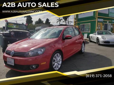 2011 Volkswagen Golf for sale at A2B AUTO SALES in Chula Vista CA