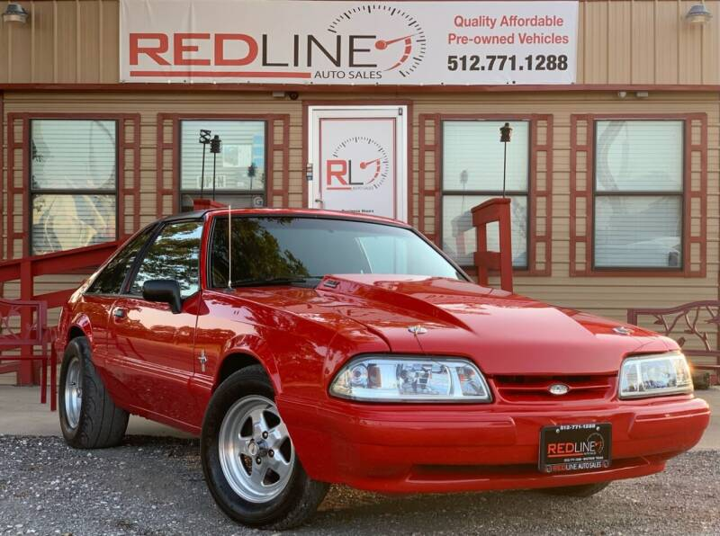 1988 Ford Mustang for sale at REDLINE AUTO SALES LLC in Cedar Creek TX