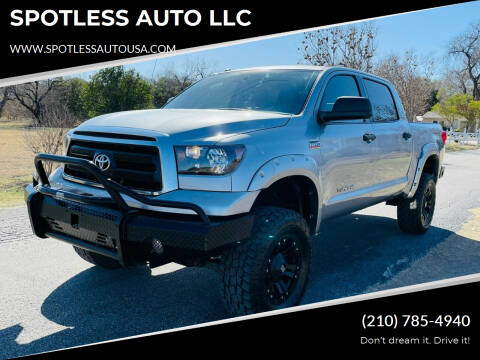 2012 Toyota Tundra for sale at SPOTLESS AUTO LLC in San Antonio TX