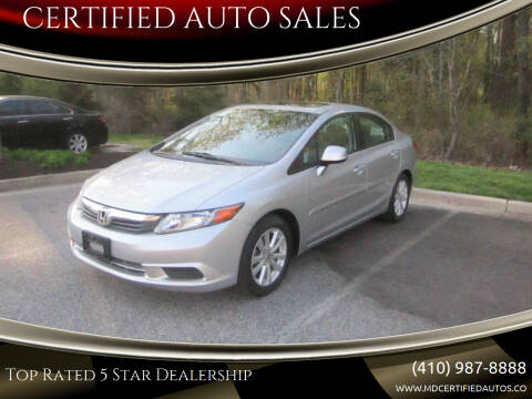 2012 Honda Civic for sale at CERTIFIED AUTO SALES in Severn MD