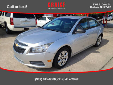 2013 Chevrolet Cruze for sale at CRAIGE MOTOR CO in Durham NC