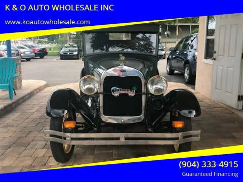 1928 Ford Model A for sale at K & O AUTO WHOLESALE INC in Jacksonville FL