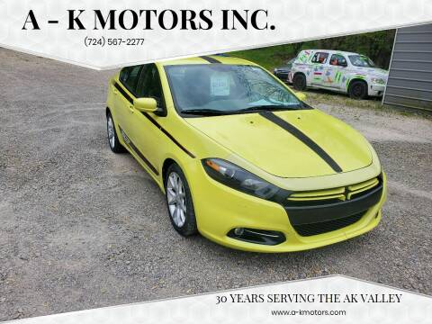 2013 Dodge Dart for sale at A - K Motors Inc. in Vandergrift PA