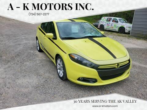 2013 Dodge Dart for sale at A - K Motors Inc. in Vandergrift PA