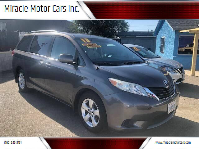 2013 Toyota Sienna for sale at Miracle Motor Cars Inc. in Victorville CA