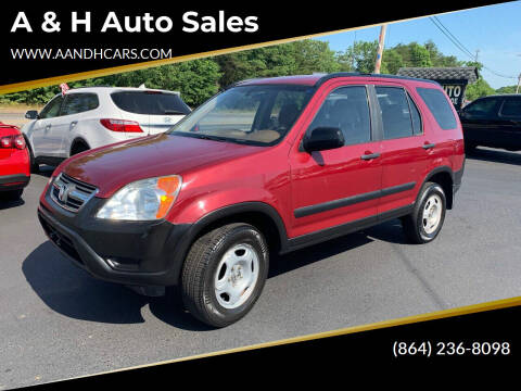 2002 Honda CR-V for sale at A & H Auto Sales in Greenville SC