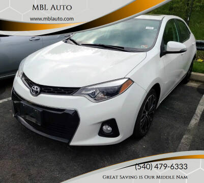 2016 Toyota Corolla for sale at MBL Auto in Fredericksburg VA