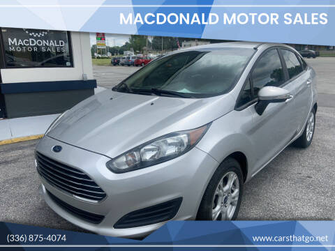2015 Ford Fiesta for sale at MacDonald Motor Sales in High Point NC